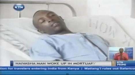 man woke in mortuary